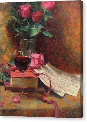 Wine Glasses Canvas Print - Etude by Anna Rose Bain