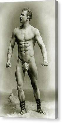 Moustache Canvas Print - Eugen Sandow In Classical Ancient Greco Roman Pose by American Photographer