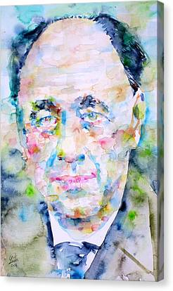 Eugene Ionesco - Watercolor Portrait Canvas Print by Fabrizio Cassetta