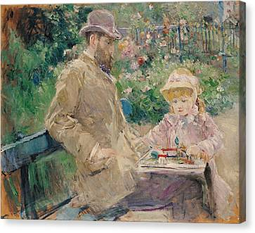 Eugene Manet 1833-92 With His Daughter At Bougival, C.1881 Oil On Canvas Canvas Print by Berthe Morisot
