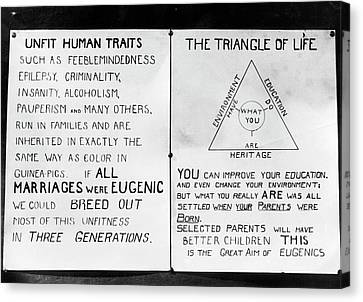Eugenics Posters At Public Fair Canvas Print by American Philosophical Society