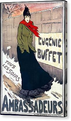 Eugenie Buffet Of Paris 1896 Canvas Print by Daniel Hagerman