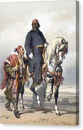 Eunuch Of The Seraglio On A Fine Arab Canvas Print by Amadeo Preziosi