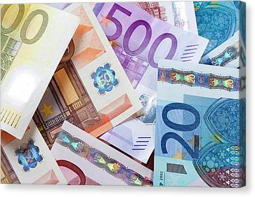 Banknotes Canvas Print - Euro - European Union Banknotes by Panoramic Images