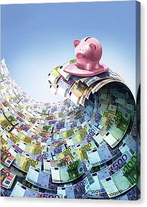 Debt Canvas Print - Euro Savings by Smetek
