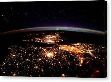 Canvas Print featuring the photograph Europe At Night, Satellite View by Science Source
