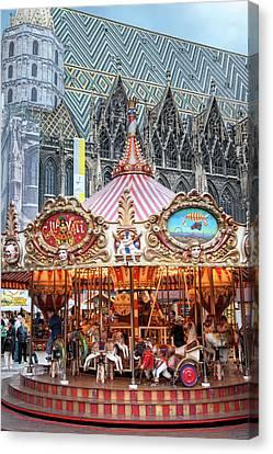 Europe, Austria, Vienna, Carousel, St Canvas Print by Jim Engelbrecht