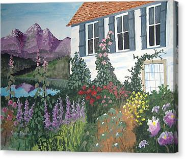 Canvas Print featuring the painting European Flower Garden by Norm Starks