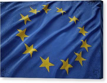 European Union Flag Waving On Aged Canvas Canvas Print by Eti Reid