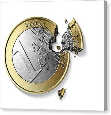 Eurozone Break-up, Conceptual Image Canvas Print