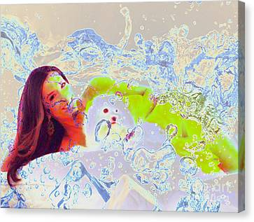 Eva Longoria In Icy Water Canvas Print by Algirdas Lukas
