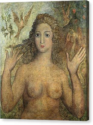 Eve Naming The Birds Canvas Print by William Blake
