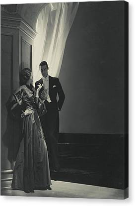 Evelyne Greig In A Lanvin Gown Canvas Print by Horst P. Horst