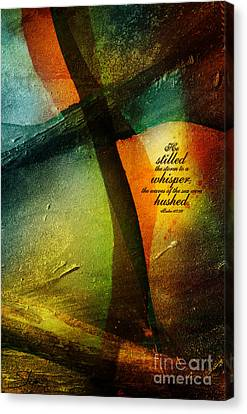 Canvas Print featuring the mixed media Even The Winds And Waves Obey Him - Verse by Shevon Johnson