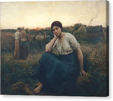 Evening, 1860 Oil On Canvas Canvas Print by Jules Breton
