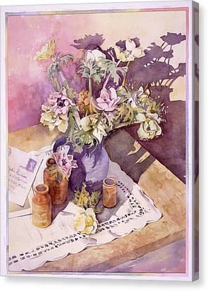 Evening Anemones Canvas Print by Julia Rowntree