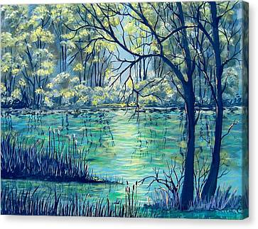 Evening At The Bayou Canvas Print by Suzanne Theis