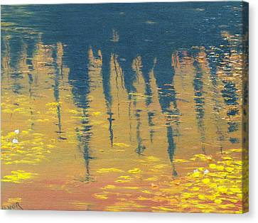 Oilon Canvas Print - Evening At The Pond by Conor Murphy