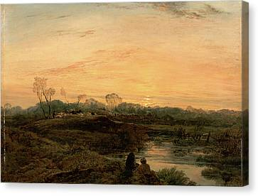 Evening, Bayswater Signed And Dated In Brown Paint Canvas Print by Litz Collection