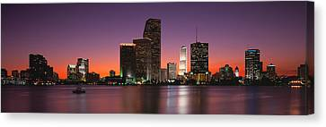 Evening Biscayne Bay Miami Fl Canvas Print by Panoramic Images
