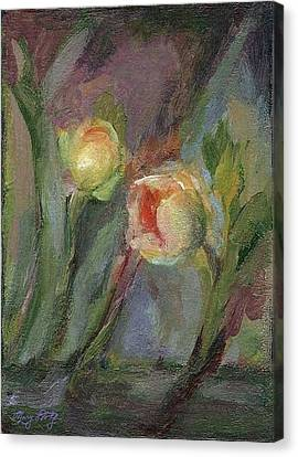 Canvas Print featuring the painting Evening Bloom by Mary Wolf