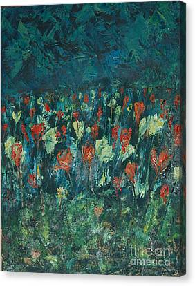 Canvas Print featuring the painting Evening Buds by Mini Arora