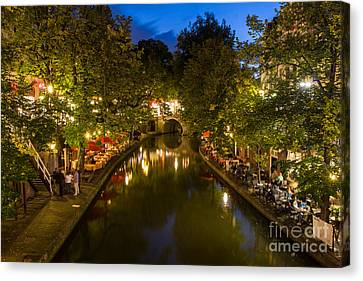 Canvas Print featuring the photograph Evening Canal Dinner by John Wadleigh