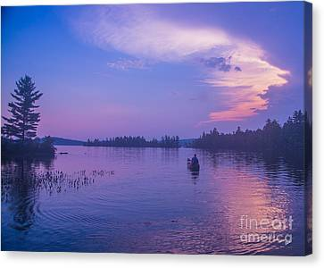 Evening Canoeing  Canvas Print