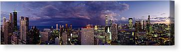 Evening Chicago Il Canvas Print by Panoramic Images