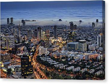 Canvas Print featuring the photograph Evening City Lights by Ron Shoshani