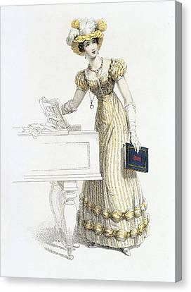 Ostrich Feathers Canvas Print - Evening Dress, Fashion Plate by English School