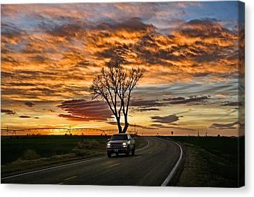 Canvas Print featuring the photograph Evening Drive by Shirley Heier