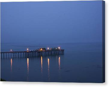 Canvas Print featuring the photograph Evening Enters Capitola by Lora Lee Chapman