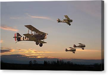 Ww1 Canvas Print - Evening Flight by Pat Speirs