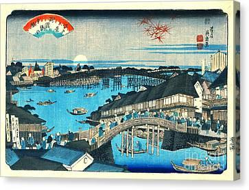 Evening Glow Ryogoku Bridge 1844 Canvas Print by Padre Art