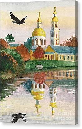 Evening Gong Of The Russian Church Canvas Print by Margaryta Yermolayeva