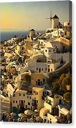 Canvas Print featuring the photograph evening in Oia by Meirion Matthias