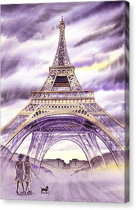 Evening In Paris A Walk To The Eiffel Tower Canvas Print by Irina Sztukowski