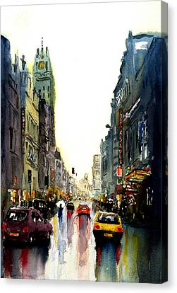Canvas Print featuring the painting Evening In The City by Steven Ponsford