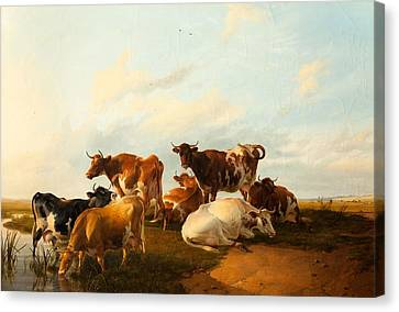 Evening In The Meadows, 1871 Canvas Print by Thomas Sidney Cooper