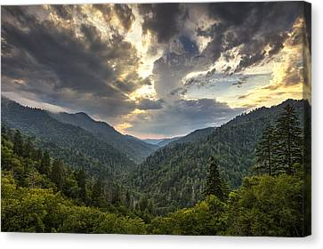 Evening In The Smokies Canvas Print by Andrew Soundarajan