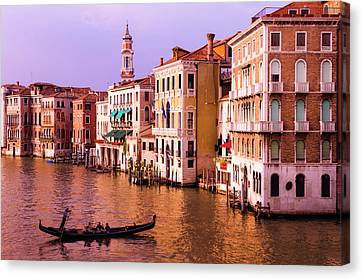Evening Light And Gondola On The Grand Canvas Print