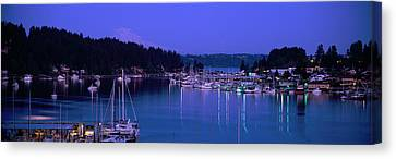 Rainy Night Canvas Print - Evening Light On Boats Moored In Gig by Panoramic Images