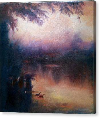 Canvas Print featuring the painting Evening Light by Rosemarie Hakim