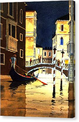 Canvas Print featuring the painting Evening Lights - Venice by Bill Holkham