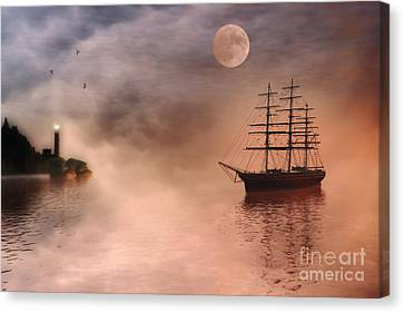 Water Vessels Canvas Print - Evening Mists by John Edwards