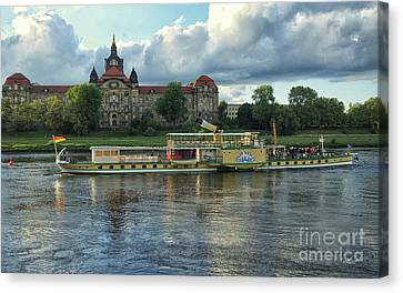 Evening Mood On The Elbe Canvas Print by Jutta Maria Pusl