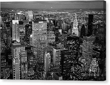 Evening Night View Of North East Manhattan Cityscape Night New York City Illuminated Canvas Print by Joe Fox