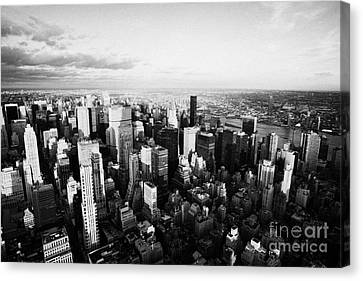 Evening Night View Of North East Manhattan From Empire State Building New York City Canvas Print by Joe Fox