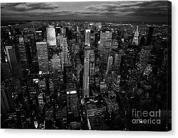 Evening Night View Of North East Manhattan  New York City Skyline Night Canvas Print by Joe Fox